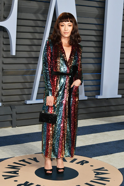 Constance Wu Plastic Purse [oscar party,vanity fair,fashion model,fashion,runway,outerwear,flooring,costume,haute couture,catwalk,girl,fashion design,beverly hills,california,wallis annenberg center for the performing arts,radhika jones - arrivals,radhika jones,constance wu]