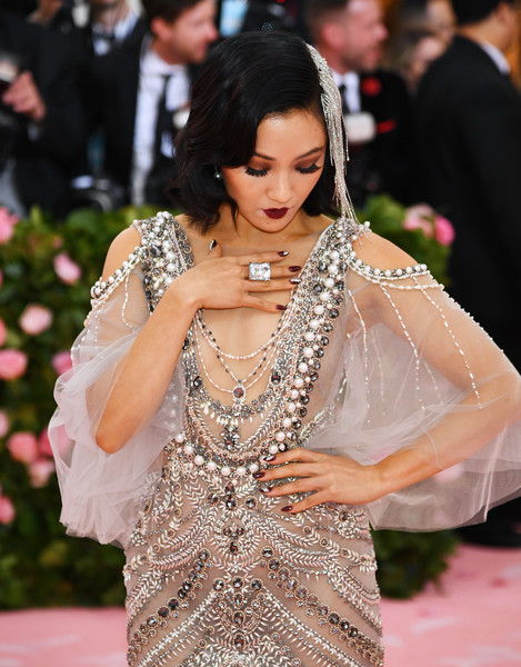 Constance Wu Nail Art [lady,shoulder,fashion,dress,hairstyle,event,formal wear,joint,flooring,neck,fashion - arrivals,constance wu,notes,fashion,new york city,metropolitan museum of art,met gala celebrating camp]