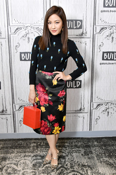 Constance Wu Leather Tote [movie,crazy rich asians,clothing,dress,lady,fashion,street fashion,footwear,sleeve,neck,fashion model,waist,celebrities,constance wu,build,new york city,build studio]
