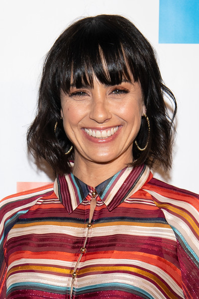 Constance Zimmer Short Wavy Cut [hair,hairstyle,bangs,chin,smile,black hair,brown hair,layered hair,long hair,bob cut,young literati,constance zimmer,toast,los angeles,california,city market social house,library foundation of los angeles]