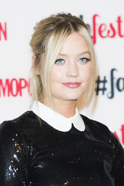 Swept up and back, Laura Whitmore's blonde locks looked casually cool in a messy updo at the 'Cosmopolitan' #FashFest event in London.