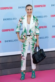 Berta's pantsuit featured fun tropical prints for a unique, summery look.