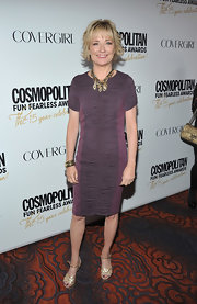 Kate White wore this ruched two-tone purple frock to the Cosmo party.