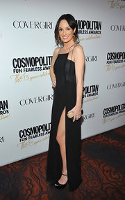Catt Sadler wore this saucy black gown with a thigh-high slit to the Cosmo party.
