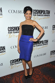 Freida Pinto sizzled in a blue metallic bandage skirt and fitted corset top.