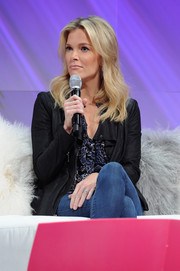 Megyn Kelly teamed a black leather jacket with jeans and a print blouse for Cosmopolitan's Fun Fearless Life Conference.