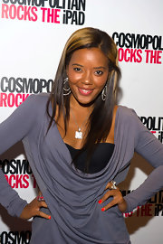 Angela Simmons kept her hair sleek and simple at the launch of Cosmo's new iPad. Golden-blond highlights topped her look off.