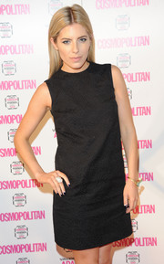 Mollie King added a touch of goth with a dark blue and white reverse French mani.