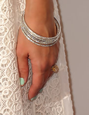 Jessica Alba wore a stack of diamond bangle bracelets to a Gala in LA.