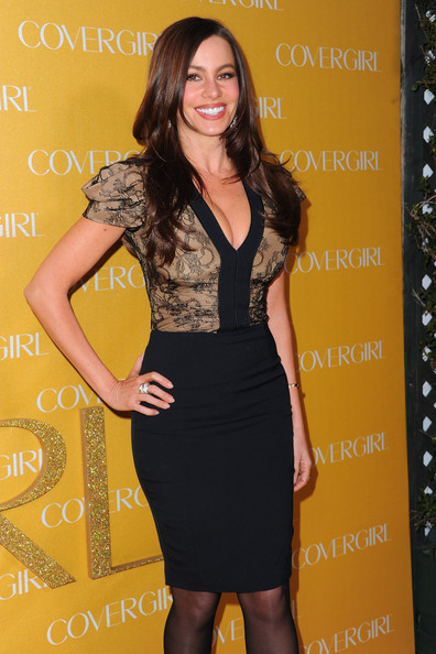 More Pics of Sofia Vergara Cocktail Dress (1 of 8) - Sofia Vergara Lookbook - StyleBistro [clothing,dress,cocktail dress,little black dress,yellow,fashion,fashion model,long hair,shoulder,neck,arrivals,sofia vergara,covergirl cosmetics,covergirl cosmetic,west hollywood,california,party,50th anniversary party]
