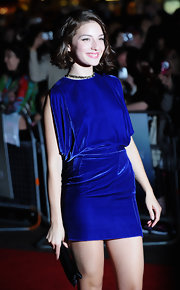 Maria Valverde looked saucy at the premiere of 'Cracks' in a velvet blue mini dress.