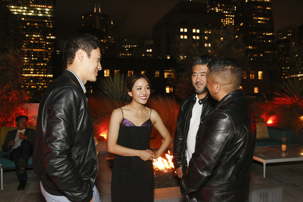 More Pics of Constance Wu Cocktail Dress (3 of 9) - Constance Wu Lookbook - StyleBistro [event,leather,leather jacket,suit,textile,night,jacket,ceremony,formal wear,dress,steve jang,friends,constance wu,rembrandt flores,henry golding,l-r,california,san francisco,crazy rich asians viewing party,warner bros. pictures]