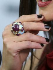 Jennifer shows off her funky burgandy and light blue cocktail ring at the Toronto International Film Festival.