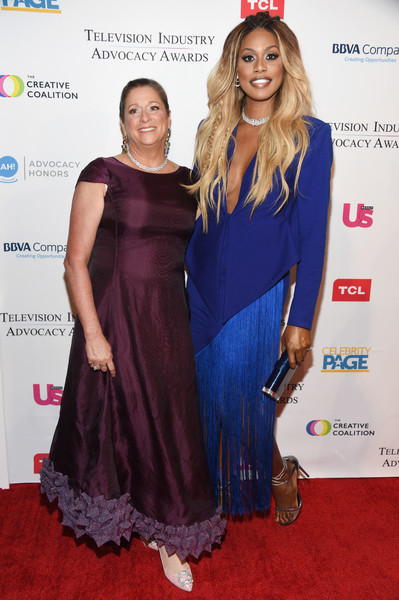 More Pics of Laverne Cox Long Partially Braided (1 of 7) - Laverne Cox Lookbook - StyleBistro [clothing,carpet,red carpet,dress,fashion,premiere,cocktail dress,event,flooring,fashion design,arrivals,laverne cox,abigail disney,ceo,r,sofitel los angeles,beverly hills,creative coalition,fork films,television industry advocacy awards]