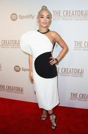 Rita Ora wore an eye-catching black-and-white one-shoulder dress by Osman for the Creators party.