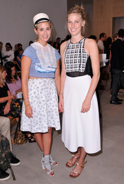 Elisabeth von Thurn und Taxis sported clashing prints with this skirt and crop-top combo.
