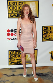 Mireille stuck to a simple blush-colored frock with a square neckline for the Critics' Choice Television Awards.
