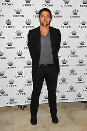 Janko Tipsarevic wore a sophisticated black blazer at the Crown's IMG Tennis Player's Party in Melbourne Australia.