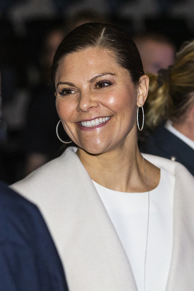 Princess Victoria glammed up with a pair of diamond hoops.