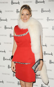 Attending a dinner in London, Nadja Swarovski looked uber-glamourous in her wintry white fur stole.
