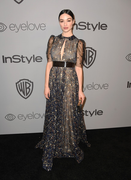 Crystal Reed Cutout Dress [clothing,dress,fashion,carpet,hairstyle,red carpet,fashion model,fashion design,shoulder,flooring,arrivals,crystal reed,beverly hills,california,the beverly hilton hotel,warner bros. pictures,instyle host,post-golden globes party]