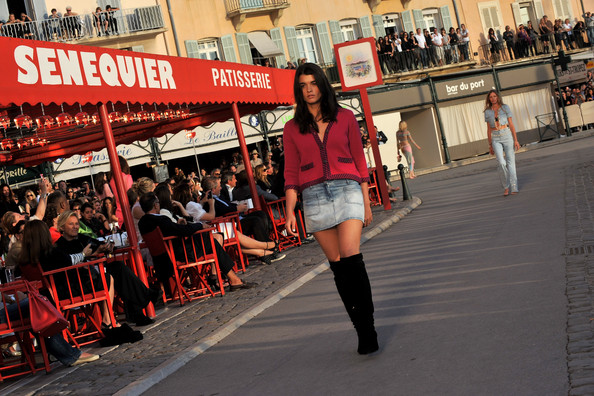 Crystal Renn Over the Knee Boots [red,fashion,street fashion,beauty,snapshot,footwear,leg,thigh,model,street,runway,saint-tropez,france,chanel cruise collection presentation - show,model]