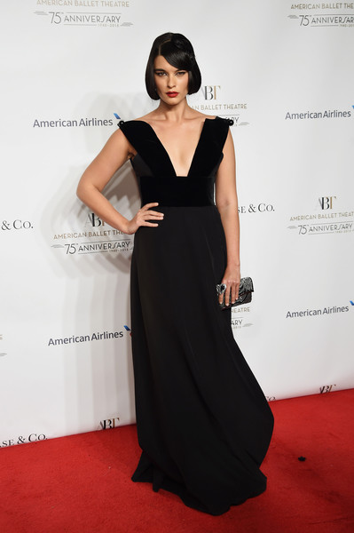 Crystal Renn Beaded Clutch [dress,clothing,fashion model,shoulder,red carpet,carpet,fashion,neck,a-line,gown,david h. koch theater,new york city,lincoln center,american ballet 75th anniversary fall gala,crystal renn]