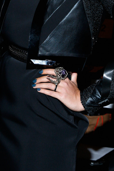 Crystal Renn Dark Nail Polish [fashion,hand,dress,electric blue,fashion accessory,eyewear,finger,leather,nail,black hair,alon livne - front row,crystal renn,alon livne,ring detail,lincoln center,new york city,the studio,mercedes-benz fashion week,fashion show]