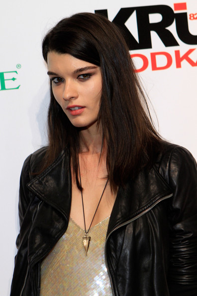Crystal Renn Gemstone Pendant [hair,leather,hairstyle,clothing,black hair,long hair,leather jacket,lip,brown hair,jacket,crystal renn,club si swimsuit,caesars palace,las vegas,nevada,pure nightclub,si,pure nightclub]