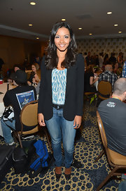 Jessica Lucas knows that a basic black blazer can pull any outfit together, including her outfit at Comic-Con.