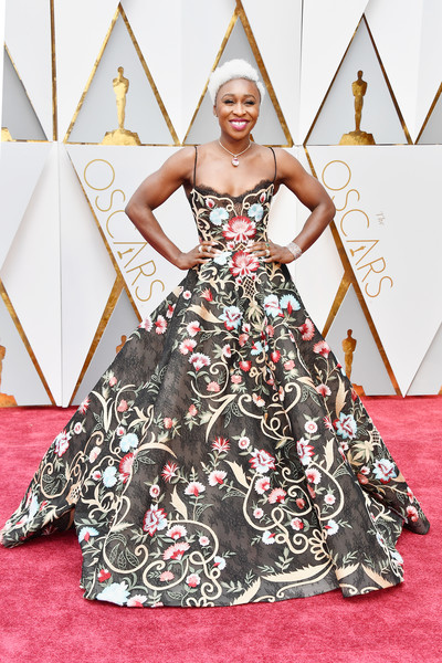Cynthia Erivo Embroidered Dress