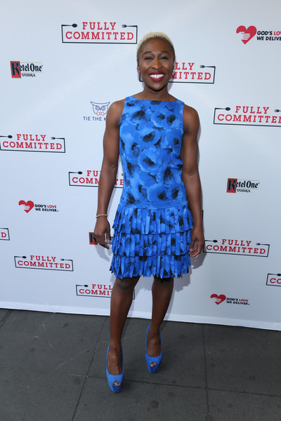 Cynthia Erivo Peep Toe Pumps [clothing,cocktail dress,dress,electric blue,shoulder,fashion,cobalt blue,fashion design,premiere,footwear,cynthia erivo,curtain call,new york city,lyceum theatre,fully committed,broadway opening night - arrivals]