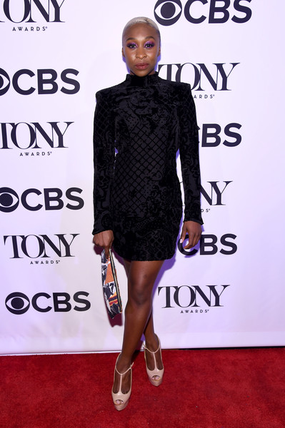 Cynthia Erivo Peep Toe Pumps [clothing,dress,cocktail dress,fashion model,shoulder,little black dress,fashion,carpet,footwear,joint,tony honors for excellence in the theatre and honoring the 2016 special award,diamond horseshoe,new york city,cynthia erivo,tony honors cocktail party,recipients,arrivals,recipients]
