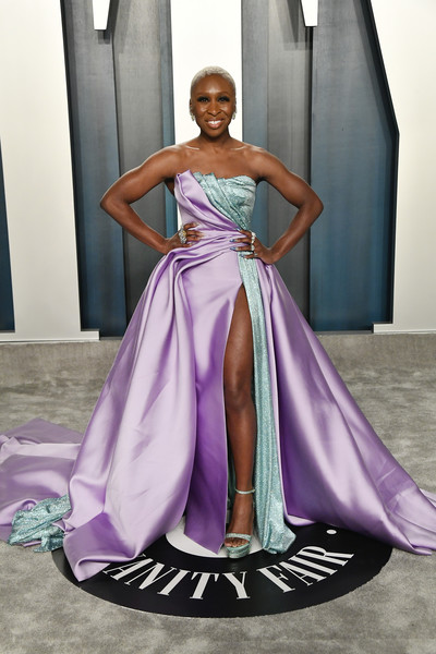 Cynthia Erivo Platform Sandals [gown,dress,clothing,fashion model,purple,shoulder,formal wear,haute couture,fashion,violet,radhika jones - arrivals,radhika jones,cynthia erivo,beverly hills,california,wallis annenberg center for the performing arts,oscar party,vanity fair,wallis annenberg center for the performing arts,radhika jones,vanity fair,oscar party,hollywood,celebrity,academy awards,actor,party]