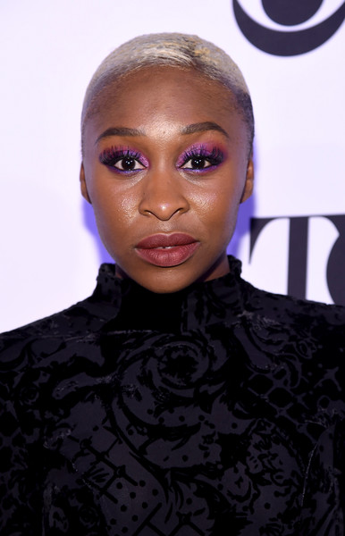 Cynthia Erivo Buzzcut [hair,face,hairstyle,eyebrow,lip,beauty,head,forehead,purple,fashion,tony honors for excellence in the theatre and honoring the 2016 special award,diamond horseshoe,new york city,cynthia erivo,tony honors cocktail party,recipients,arrivals,recipients]