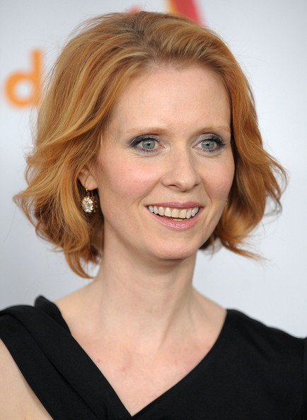 Cynthia Nixon Bob [hair,face,hairstyle,eyebrow,blond,chin,beauty,lip,smile,forehead,arrivals,cynthia nixon,glaad media awards,new york city,the new york marriott marquis]