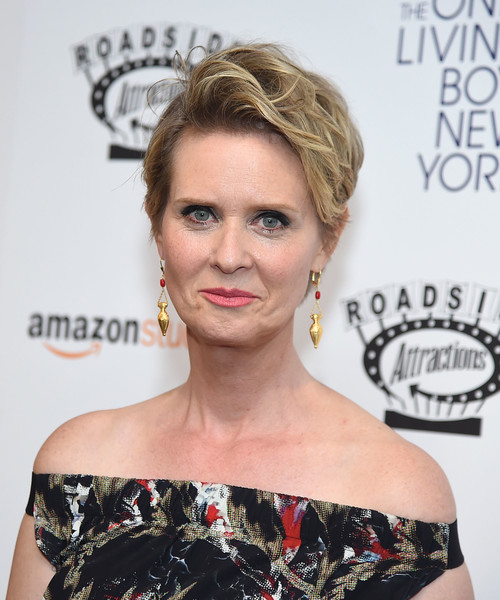 Cynthia Nixon Messy Cut [the only living boy in new york,beauty,hairstyle,eyebrow,shoulder,fashion model,blond,hair accessory,flooring,long hair,brown hair,cynthia nixon,new york,the museum of modern art,new york premiere]