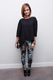 Torrey Devitto made a fashion statement at Cynthia Rowley's runway show where she wore bright, patterned skinny pants.
