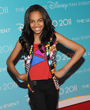 China Anne McClain had a lively aura with her sweet smile and colorful vest.