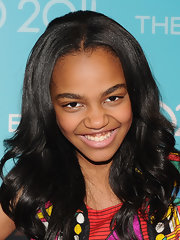 China Anne McClain smiled sweetly for a shot with her softly curled locks.