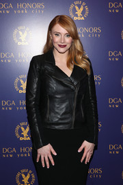 Bryce Dallas Howard worked a tough-chic vibe in a black leather moto jacket during the DGA Honors.