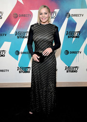Abbie Cornish looked elegant in a textured black gown while visiting DIRECTV House.