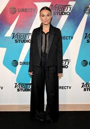 Keira Knightley took a risk with this oversized black pantsuit while visiting DIRECTV House.