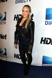 Nastia Liukin looked tough in a studded leather jacket at the Super Bowl Party.