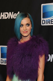 Katy Perry attended the 6th Annual Celebrity Beach Bowl after party wearing her short blue bob sleek and straight.