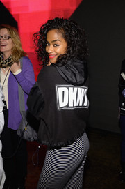 Vashtie Kola was sporty in a black DKNY hoodie during the label's fashion show.