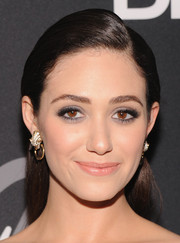 Emmy Rossum polished off her look with a neat half-up 'do for DKNY's birthday bash.