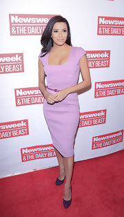 Eva Longoria looked flawless at the inauguration brunch in this square-neck lilac sheath dress.