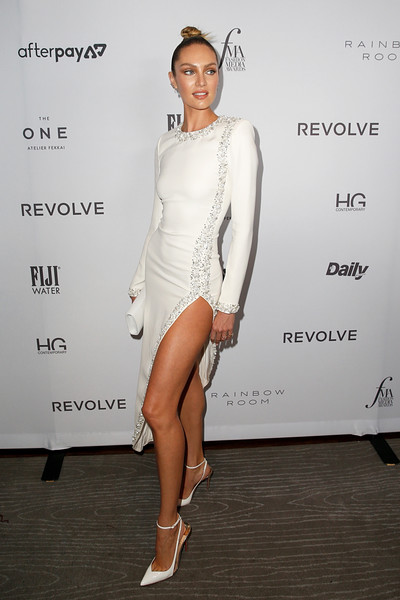 More Pics of Candice Swanepoel Leather Clutch (1 of 2) - Clutches Lookbook - StyleBistro [white,clothing,shoulder,dress,cocktail dress,fashion model,leg,fashion,footwear,beauty,candice swanepoel,2019 fashion media awards,new york city,the rainbow room,daily front row,the daily front row]