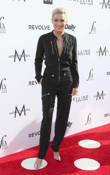More Pics of Yolanda Hadid Jumpsuit (3 of 3) - Suits Lookbook - StyleBistro [suit,red carpet,carpet,clothing,formal wear,tuxedo,fashion,premiere,footwear,flooring,arrivals,yolanda hadid,west hollywood,california,sunset tower hotel,daily front row,3rd annual fashion los angeles awards]